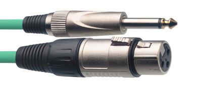 Câble de microphone XLR/jack (f/m), 6 m, vert