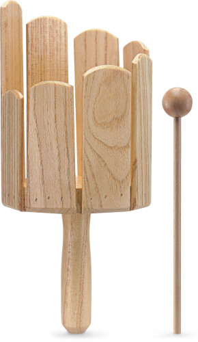 Multitone wooden tank with handle and beater, small model