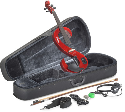 4/4 electric violin set with S-shaped transparent red electric violin, soft case and headphones