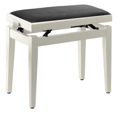 Matt white piano bench with black velvet top