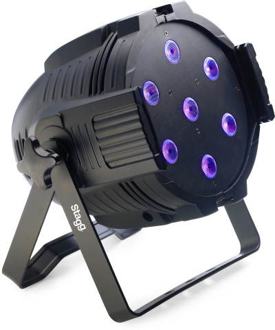 LED spotlight with 7 x 10W RGBW 4-in-1 LEDs - US power cord