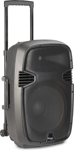 "12"" 2-way active trolley speaker, analog, class B, bi-amplification, 160 watts peak power (140 + 20)"