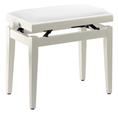 Matt white piano bench with white velvet top