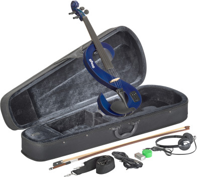 4/4 electric violin set with S-shaped transparent blue electric violin, soft case and headphones