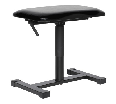 Satin black hydraulic keyboard bench with satin black vinyl top and central leg